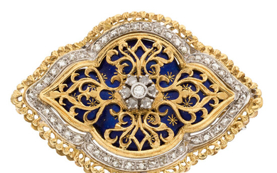 Diamond, Enamel, Gold Pendant-Brooch, Toliro The brooch features full,...