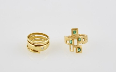 Diamond Ring and Gold and Stone Ring, 18K 10 dwt. all