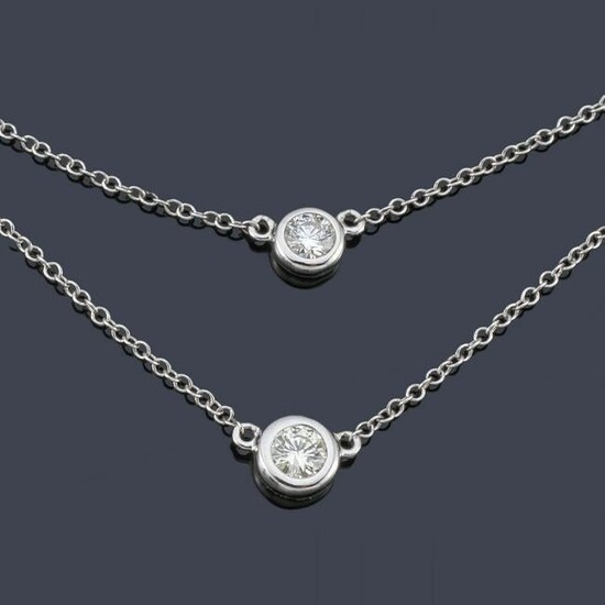 Double chain with a pair of diamonds set in a chaton of