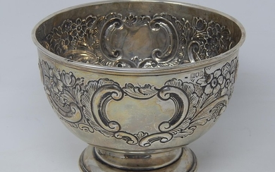 Edwardian Silver Fruit Bowl of Circular Form Embossed with S...