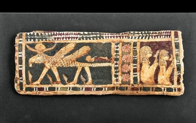Egyptian Cartonnage Gess-Lined Panel w/ Criosphinx