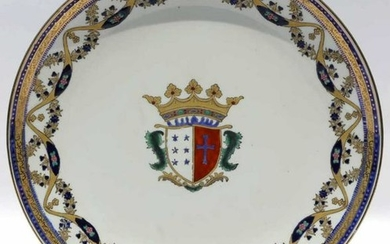 FRENCH 19TH C COAT OF ARMS CABINET PLATE