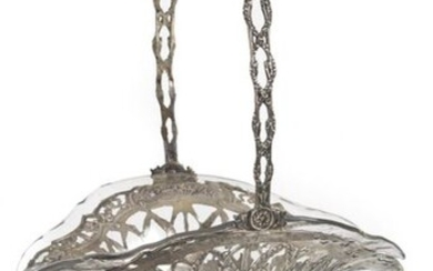 FRUIT BASKET WITH GLASS INSERT. GERMAN, SILVER 800. H. 46 CM