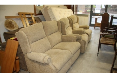 Fabric Three Piece Lounge Suite (Two-Seater interlocking sof...