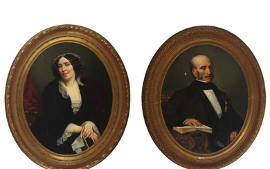 Felix Joseph Barrias: A pair of portraits depicting a noble gentleman and lady. One signed and dated. Oil on canvas. Oval. 92×73 cm. (2)