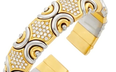 Fred Gold, Stainless Steel and Diamond Bangle Bracelet