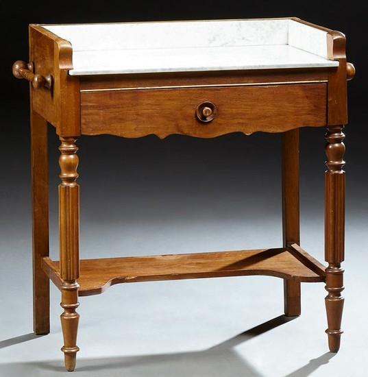French Carved Walnut Marble Top Washstand, 19th c.