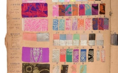 French Fabric Sample Book, circa 1899/1900 Enclosing woven and flocked...