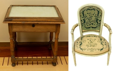 French Louis XIII Table and 19thC Chair