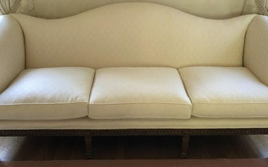 French Louis XVI Custom Upholstered Matelasse Sofa