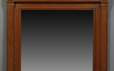 French Louis XVI Style Carved Oak Overmantel Mirror