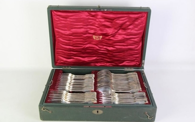 German 800 Silver Cutlery setting for 12 by Posen (3 pieces missing)