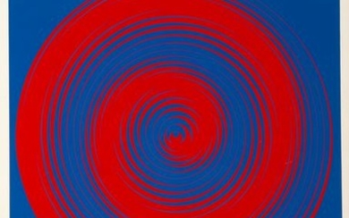 Getulio Alviani, Blue and Red Spirals, Screenprint