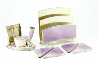 Gilt Sterling Silver Enameled Desk Set c1900