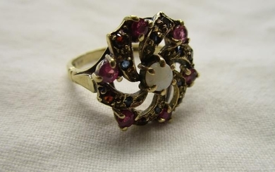 Gold ruby, opal & sapphire cluster ring