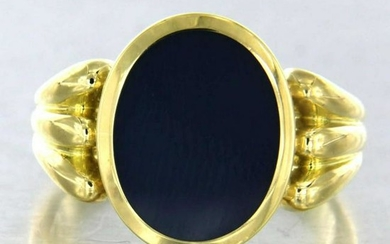Golden ring with blue agate