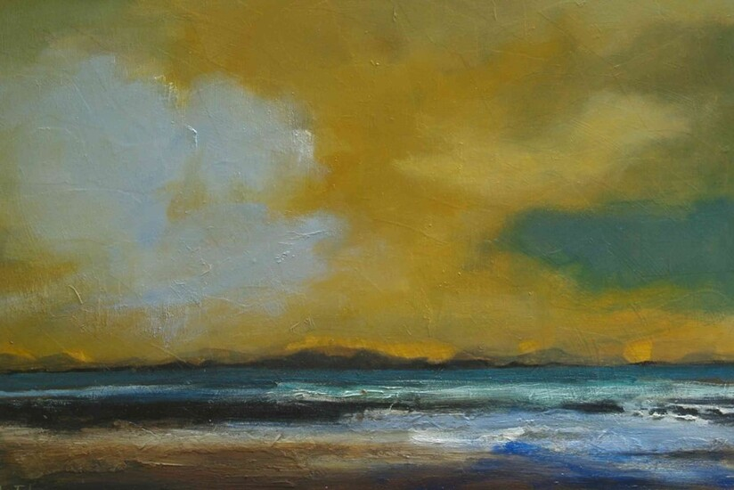"""Helen Tabor (British, B.1960) """"Evening Clouds"""", oil on board, signed lower left, artist label to"""