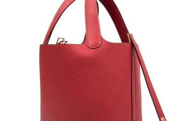 Hermes Picotin Lock 18 Rouge Casaque Clemence Gold