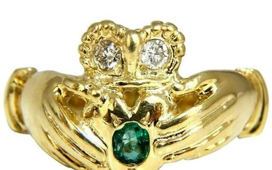 Irish Claddagh Natural Diamonds Emeralds Ring 14 Karat