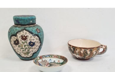 Japanese cloisonne enamel and earthenware vase and cover, ov...
