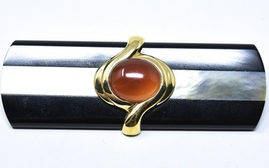 KYLO Sterling Onyx & Mother of Pearl Brooch