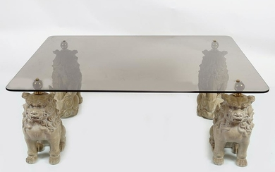 LARGE DESIGNER GLASS AND COMPOSITE COFFEE TABLE