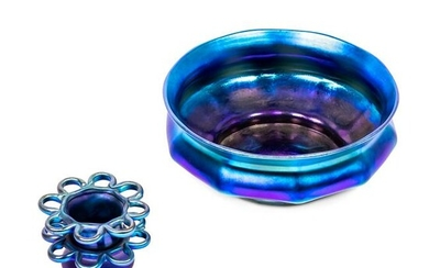 LCT Tiffany Blue Favrile Glass Lobed Bowl and Frog