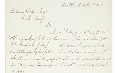 "LEE, ROBERT E. Autograph Letter Signed, ""RELee Bt Col / SuptMilAcad'y,"" as Superintendent of the United States Military Academy, to Na"