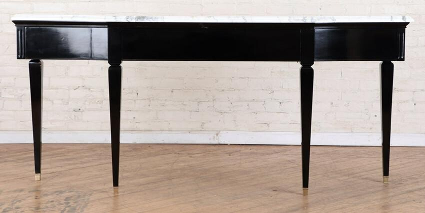 LOUIS XIV STYLE MARBLE TOP EBONIZED CONSOLE 1950