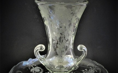 Large Etched Glass Vase and Platter 19th Century FR3SH