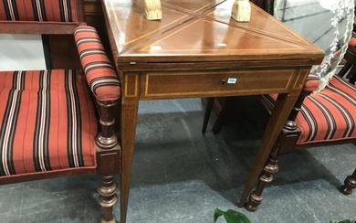 Late 19th Century French Walnut Envelope Top Card Table, with fruitwood banding, frieze drawer & tapering legs, needs felt lining (K...