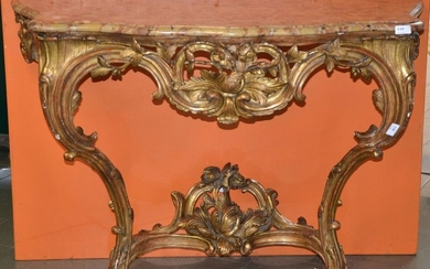 Louis XV stuccoed gilded wood console table -...