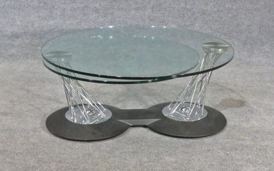 MID CENTURY MODERN GLASS TOP SWIVEL TABLE