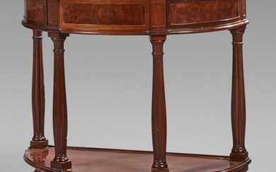 Mahogany half-moon console opening to a drawer and...