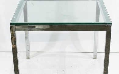 Mid-Century Modern Glass Top, Chrome Frame Square Table