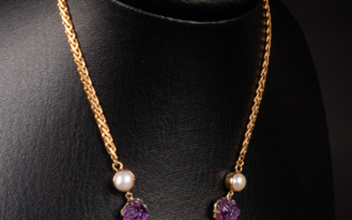 Necklace of 585 gold with amethysts and pearls