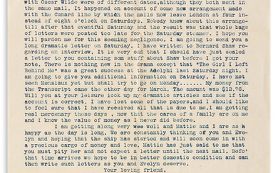 (OSCAR WILDE TRIAL) Typed Letter Signed by unidentified dram