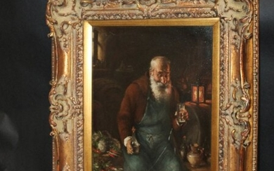 Oil on board Old Man in Tavern