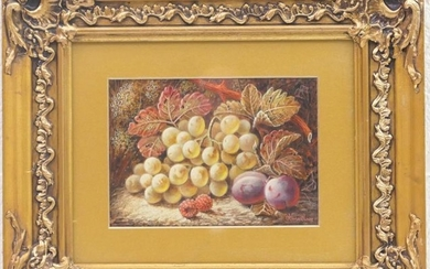 Oliver Clare (1853-1927), Still life with grapes, plums and...
