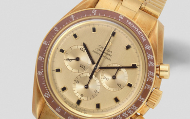 Omega. A Very Fine And Rare Limited Edition 18K gold automatic chronograph Bracelet Watch, Commemorating the Apollo 11 Space Mission And The Successful Moon Landing in 1969