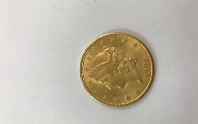 One Liberty 1901 $20 gold coin. Mint in San Francisco. Weight: 33.5 grams. Wear and tear.