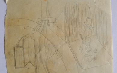 Original pencil drawing, with further sketches on reverse. From the collection of John and Griselda Lewis.