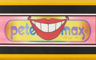 "PETER MAX, Germany/United States, b. 1937, Smile pop art., Color lithograph, 6"" x 21"". Framed 13.5"" x 28.5""."