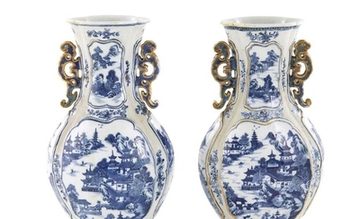 Pair Chinese Export blue-and-white porcelain vases