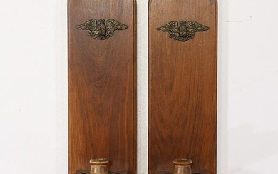 Pair Colonial Style Pine Wood Candle Wall Sconces