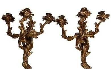 Pair of Antique French Louis XIV Bronze 3-Arm Sconces