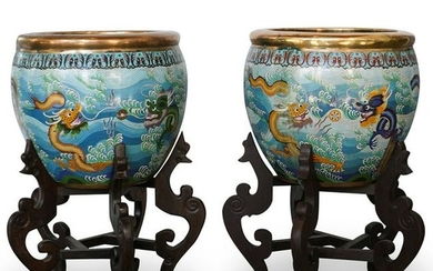 Pair of Chinese Cloisonne Fish Bowls