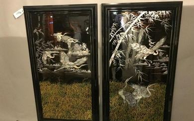 Pair of Chinese Mother of Pearl Inlaid Panels