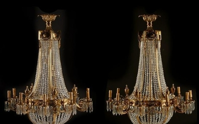 Pair of French Neoclassical Style Dore Bronze and Cut