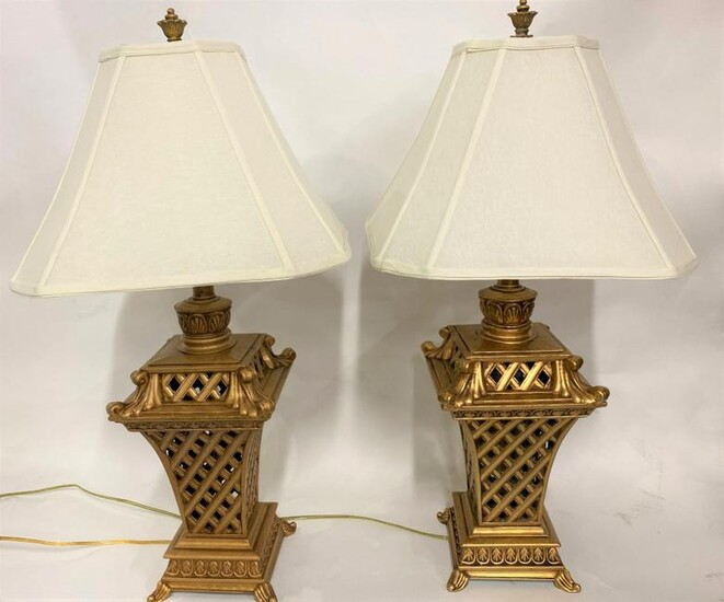 Pair of Gilt Brass Weaved Pattern Table Lamps
